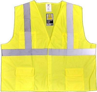 Class 2 Solid Lime Yellow Safety Vest With Hook and Loop Closure