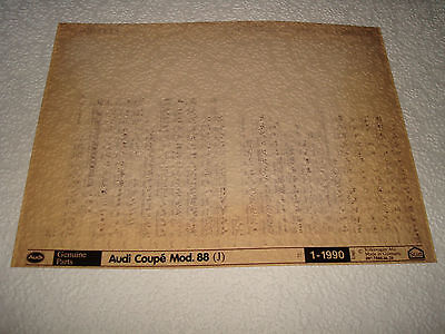 Audi Coupe Mod.88 (J)  Parts Microfiche Full Set Of 1 - January 1990