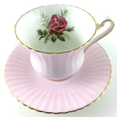 Paragon Teacup And Saucer Fine Bone China England Pale Pink Gold Trim And Rose