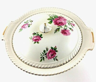 Johnson Brothers Vegetable Serving Bowl With Lid White Pink Flowers Gold Trim