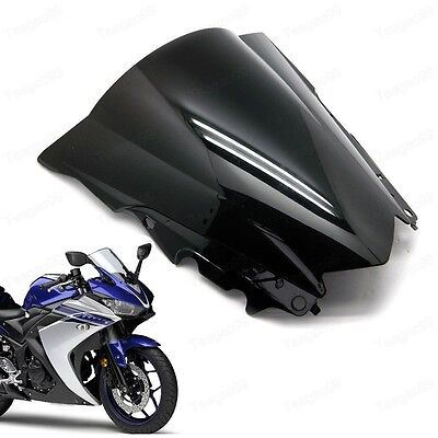 Black Double Bubble Windscreen Windshield ABS for Yamaha YZF R3 R25 2015-2016