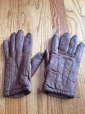 ISOTONER Vintage ARIS GLOVES Stretch Fabric & Leather Brown