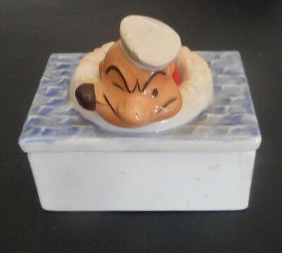 "POPEYE Ceramic Box by VANDOR Japan 1980 King Features 3-3/4"" x 2-1/2"" x 3-1/2"""