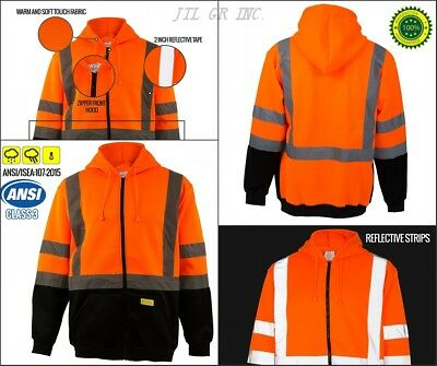 Full Zip High Visible Safety Hoodie Hoody Sweatshirt ANSI class 3 - Orange