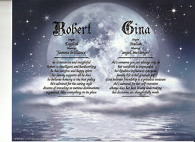 """Moonlit Night"" Double Name Meaning Print Personalized (Love Romance)"