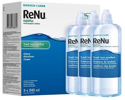 Renu Multiplus Contact Lens Solution 3x 240ml (3months' Supply)