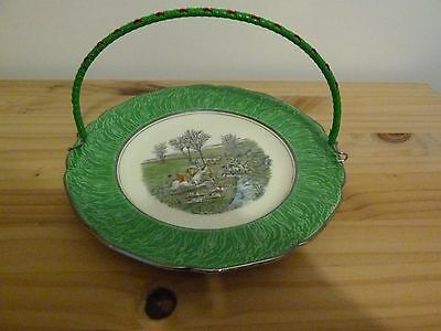 Grays Pottery Hunting Scene Plate With Handle 1950