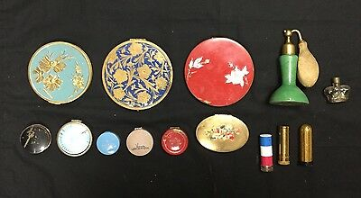 Lot (14) Vintage Makeup Compacts Trinket Pill Boxes MIRROR LIPSTICK GOLD PERFUME