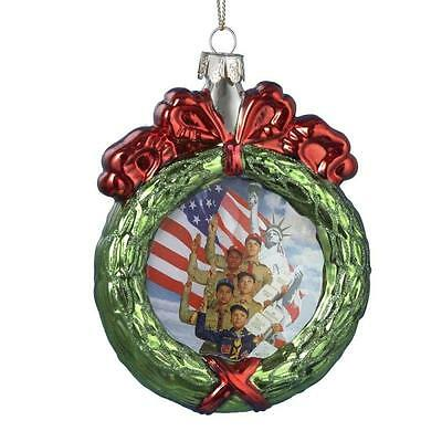 Kurt Adler Boy Eagle Scouts of America Wreath Glass Holiday Christmas Ornament