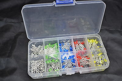 500 Piece 3MM LED Assortment Kit White Yellow Red Blue Green Diodes