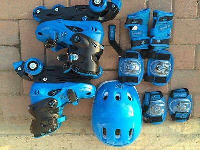 Inline Skates ADJUSTABLE SIZES for children UK1- 4 full set in perfect condition