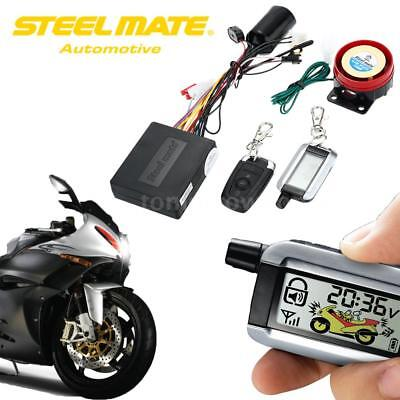 Steelmate 2 Way Motorcycle Alarm System Remote Engine Start LCD Transmitter A2G4