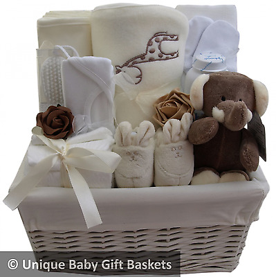 Hospital/new born essentials baby gift basket/hamper unisex neutral baby shower