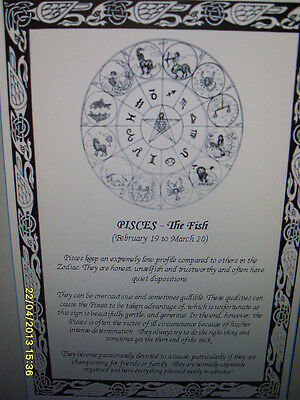 Zodiac Pisces Fish Poster February March Horescope Reference Guide Water Sign