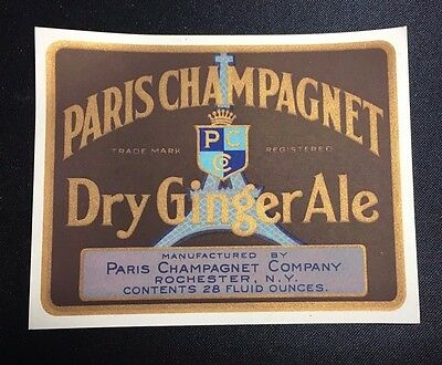 Vintage Paris Champagnet Dry Ginger Ale Label