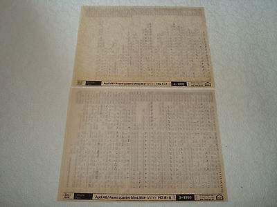 Audi A6 & Avant Quattro Mod.98 (W-Y) Parts Microfiche Full Set Of 2 - Mar.1999