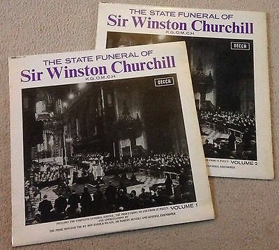 THE STATE FUNERAL OF Sir Winston Churchill Vol 1&2 Vinyl LPs Decca WCF 101 RARE
