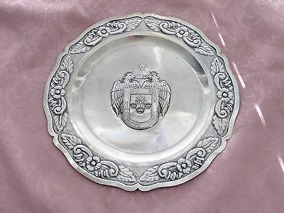 VINTAGE WELSCH STERLING PERU  HAMMERED REPOUSSE PLATTER with COAT OF ARMS LIMA