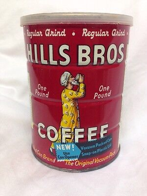 Vintage 1963 Hills Brothers Coffee Can Tin, Metal 1 lb.