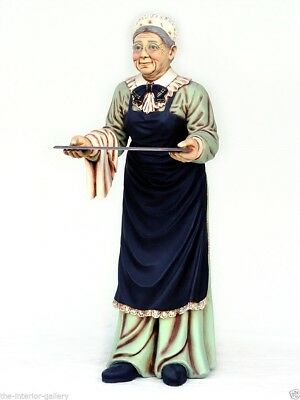 Old Woman Waitress Life Size Statue - Life Size Butler Statue - Woman Butler 6FT