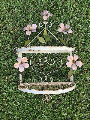 vintage tole ware pink + green flower plant shabby chic metal garden wall shelf