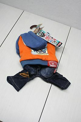Small Dog Clothes Touchdog Jeans Hoodie Blue Orange My Loyal Friend