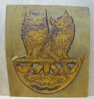 'Waiting For Dinner' Vintage Artwork Wood Pyrography Pair of Cats Kittens Plaque