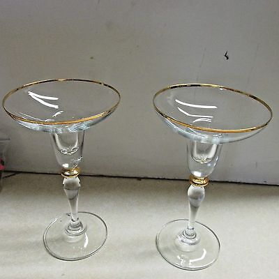 """Maxime Gold 6"""" Candlesticks wioth 24KT Gold Trim"""
