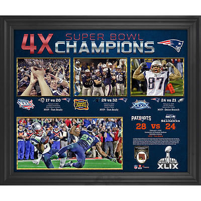 Framed Patriots 4-Time Super Bowl Champions Collage w/ GU Football - 2021367