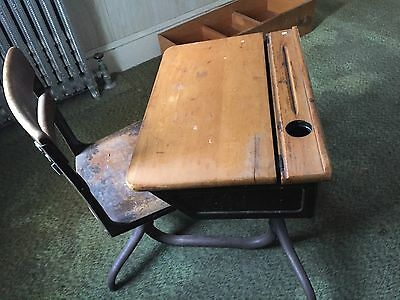 ANTIQUE VINTAGE  SCHOOL DESK CHAIR 20s or 30s Inkwell Spot