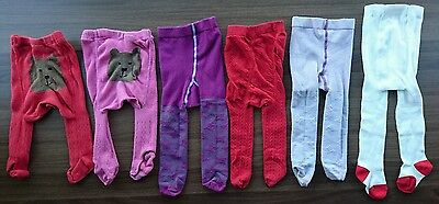 6 Pairs of Baby Girls Tights 0-12 and 6-12 Months