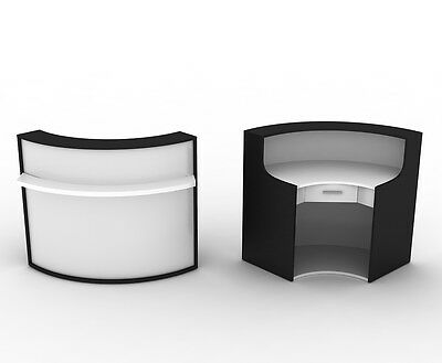 Curvy High Quality Reception Desk with Lockable Drawer in Black,Brown,LightBrown
