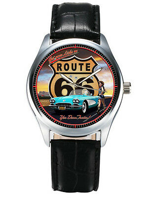 Route 66, Fantastic Classic Collectible Americana Roadie Wrist Watch Heavy Brass