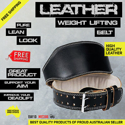 Premium Leather Weight Lifting Belt. Weightlifting Bodybuilding Gym Back Support