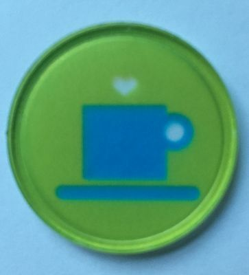 Coffee Cup Plastic Token - Quality Printed Design - Bag Of 100 - Cafe, Fetes,