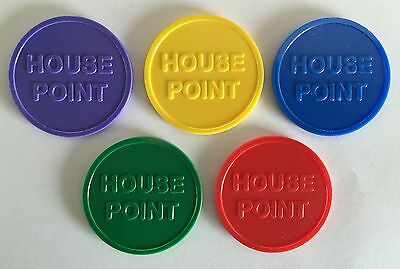 School House Point 35Mm Plastic Tokens In 5 Colours - Bag Of 100 - Reward Merit