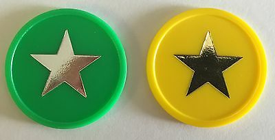 Plastic Tokens With Star Foil Printing - Bag Of 100 - Reward, School Home Merit