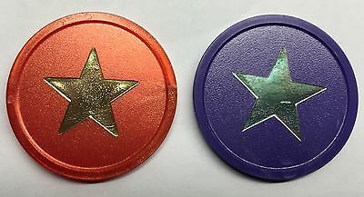 Plastic Tokens With Star Foil Printing - Bag Of 100 - Reward, School, Home, Xmas