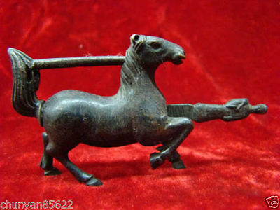 Rare Chinese old style Brass Carved Lifelike Horse padlock lock and key