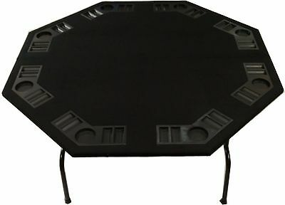 "52"" Octagon Black Felt Poker Card Game Table - With Folding Steel Legs 8 Players"
