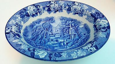 Antique Blue White Enoch Woods & Sons English Scenery Woods Ware Vegetable Bowl