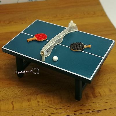 Dollhouse Miniature 1:24 Toy Blue Wooden Ping Pong Table And Rackets BM65W