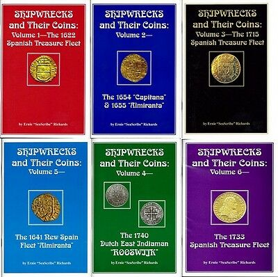 Shipwrecks and Their Coins Volumes 1 through 6 by Ernie Richards, signed