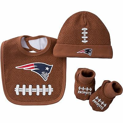 NWT New England Patriots Baby Cap, Bib and Booties 3 Piece Set 0 to 6 Months