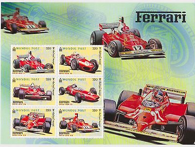 Mongolia - Cars, Automobiles, Ferrari, 2000 - Sc 2446 Sheetlet of 6 MNH