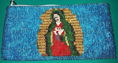 World Unique Huichol Handmade Beaded Chaquira Wallet Virgin Of Guadalupe
