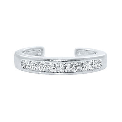 .925 Sterling Silver Channel-Set White CZ Toe Ring 14K White Gold Over