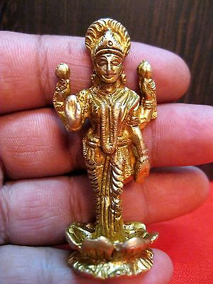 Lakshmi Laxmi Brass Art Statue Hindu Goddess of Wealth & Prosperity Figurine
