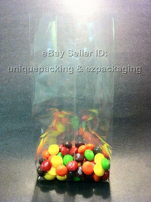 500 Pcs 5x4x15 Clear Side Gusseted Poly Cello Bags Good for Candy Cookie Bakery