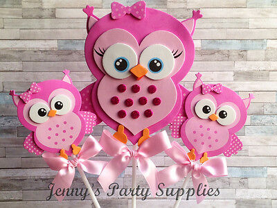 Fine Set Of 6 Pink Owl Baby Shower Centerpieces Girl Owl Birthday Party Decorations Download Free Architecture Designs Scobabritishbridgeorg